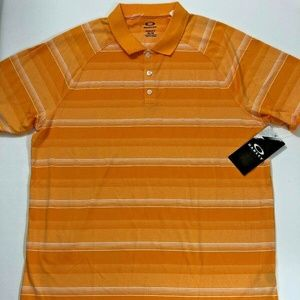 NEW Oakley Hydrolix Orange White Striped Polo